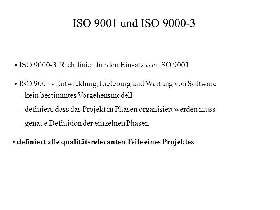 ISO 9001 und ISO 9000-3 • ISO 9000-3 Richtlinien für den Einsatz von ISO 9001. • ISO 9001 - Entwicklung, Lieferung und Wartung von Software.