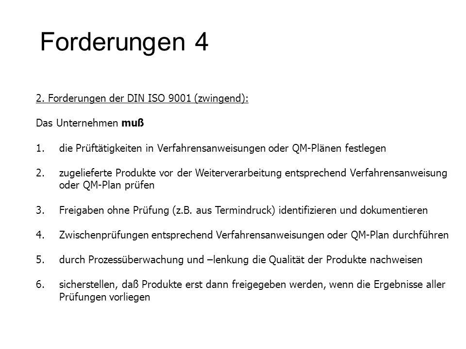 Forderungen 4 2. Forderungen der DIN ISO 9001 (zwingend):
