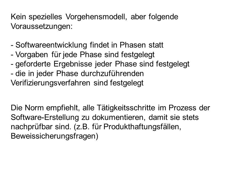 Kein spezielles Vorgehensmodell, aber folgende Voraussetzungen:
