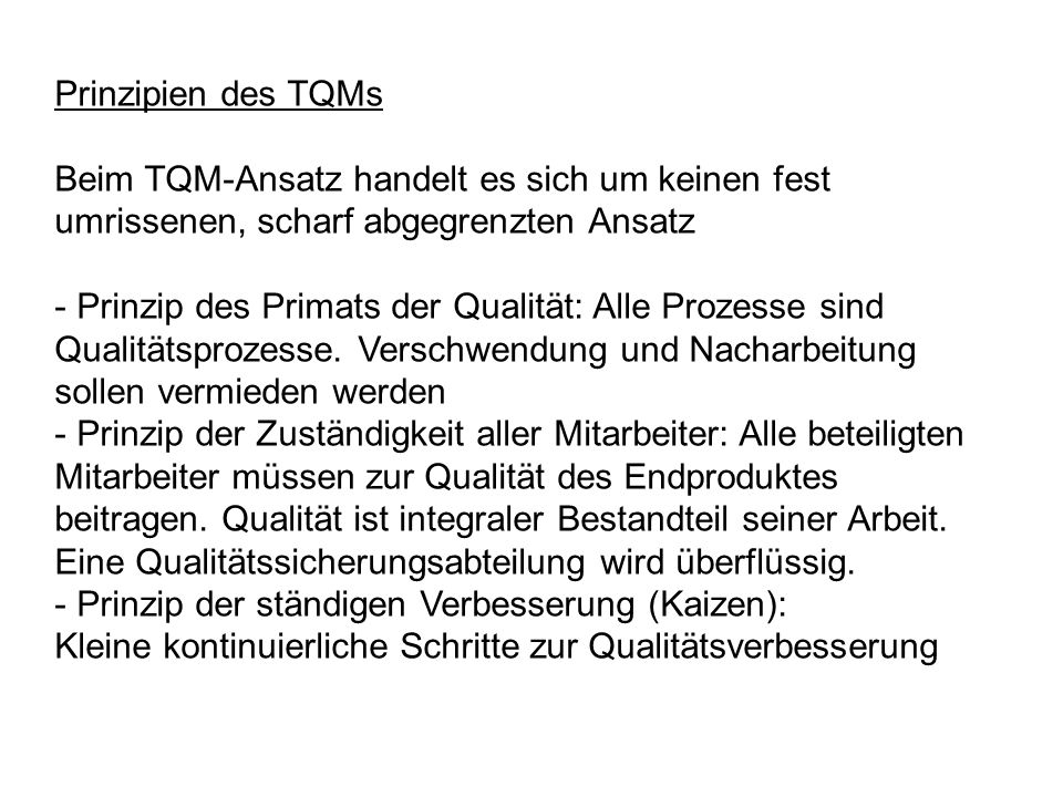 Prinzipien des TQMs Beim TQM-Ansatz handelt es sich um keinen fest umrissenen, scharf abgegrenzten Ansatz.