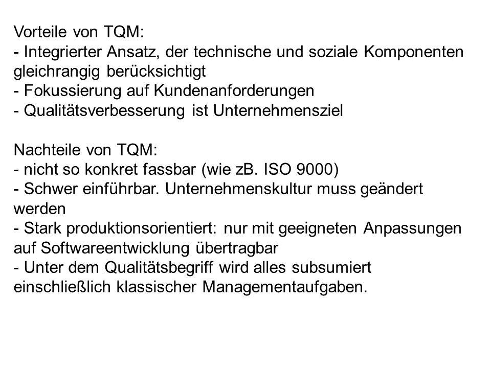 Vorteile von TQM: Integrierter Ansatz, der technische und soziale Komponenten gleichrangig berücksichtigt.