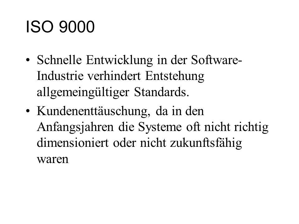 ISO 9000 Schnelle Entwicklung in der Software-Industrie verhindert Entstehung allgemeingültiger Standards.