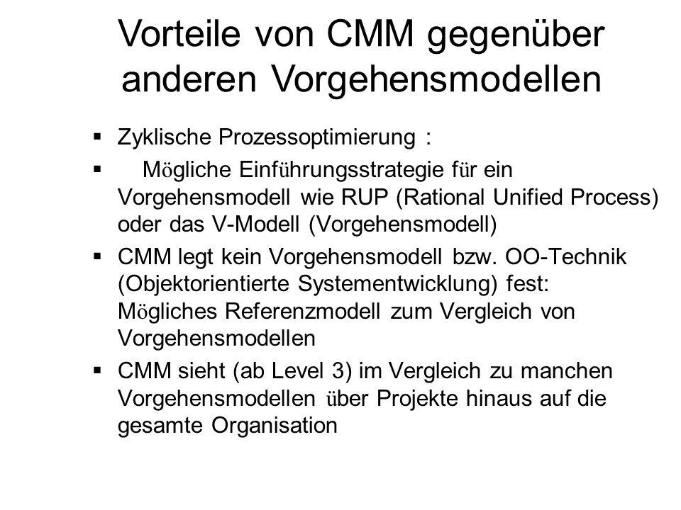 Vorteile von CMM gegenüber anderen Vorgehensmodellen