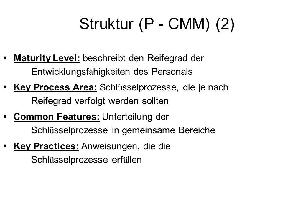 Struktur (P - CMM) (2) Maturity Level: beschreibt den Reifegrad der Entwicklungsfähigkeiten des Personals.