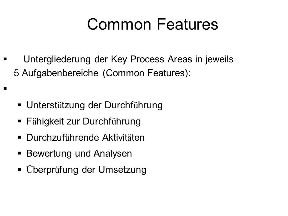 Common Features Untergliederung der Key Process Areas in jeweils 5 Aufgabenbereiche (Common Features):