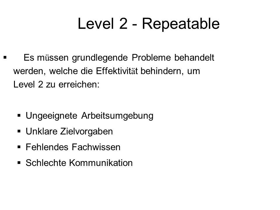 Level 2 - Repeatable Es müssen grundlegende Probleme behandelt werden, welche die Effektivität behindern, um Level 2 zu erreichen: