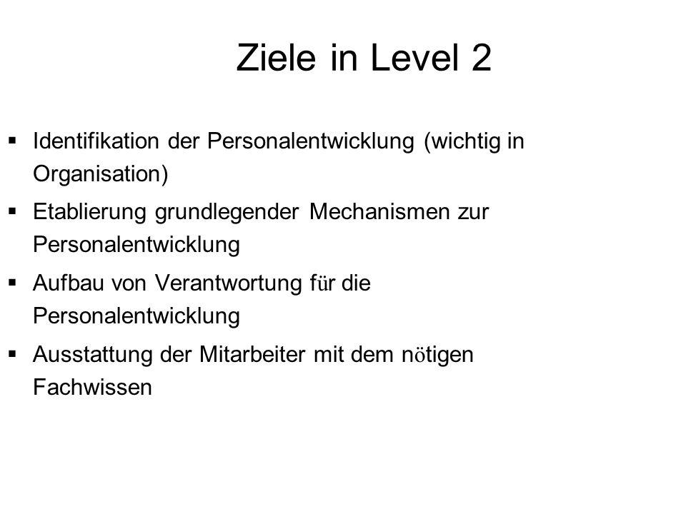 Ziele in Level 2 Identifikation der Personalentwicklung (wichtig in Organisation) Etablierung grundlegender Mechanismen zur Personalentwicklung.