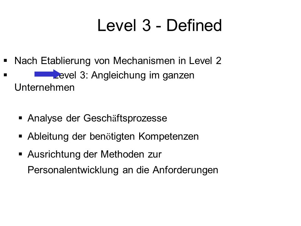 Level 3 - Defined Nach Etablierung von Mechanismen in Level 2