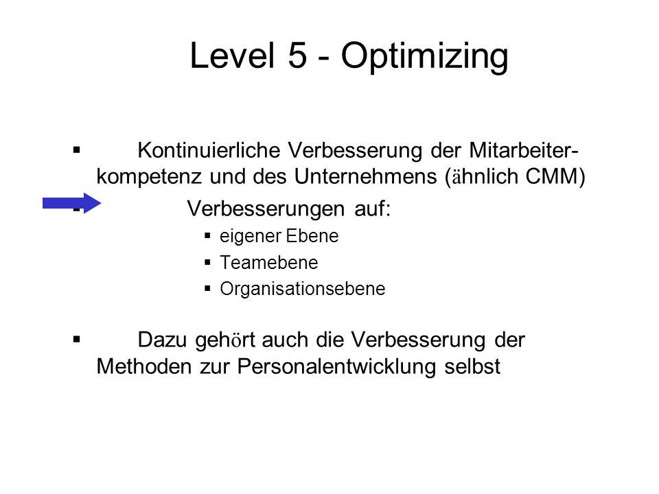 Level 5 - Optimizing Kontinuierliche Verbesserung der Mitarbeiter-kompetenz und des Unternehmens (ähnlich CMM)