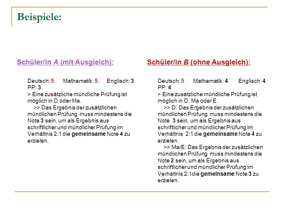 Beispiele: Schüler/in A (mit Ausgleich):