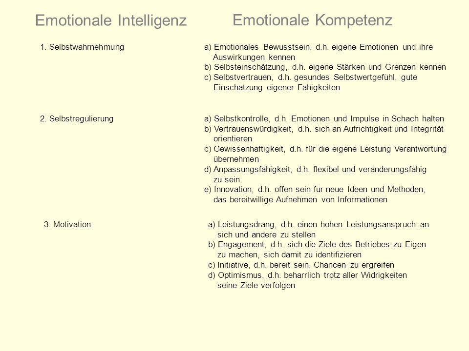 Emotionale Intelligenz Emotionale Kompetenz