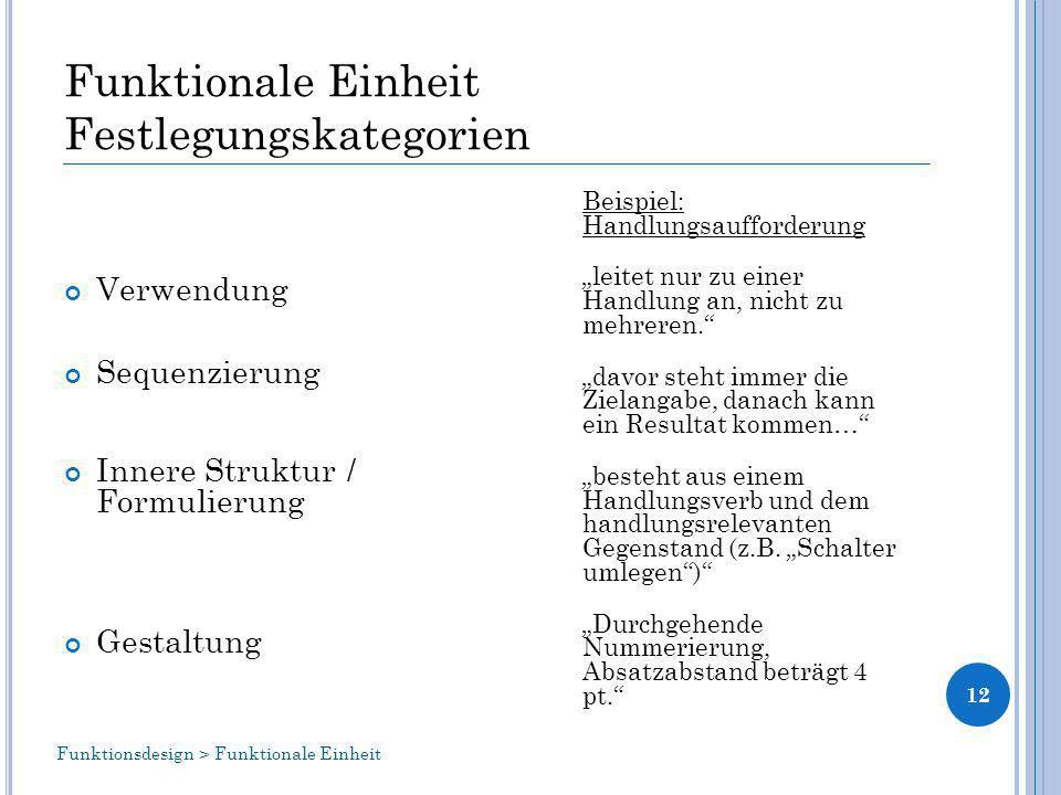 Funktionale Einheit Festlegungskategorien