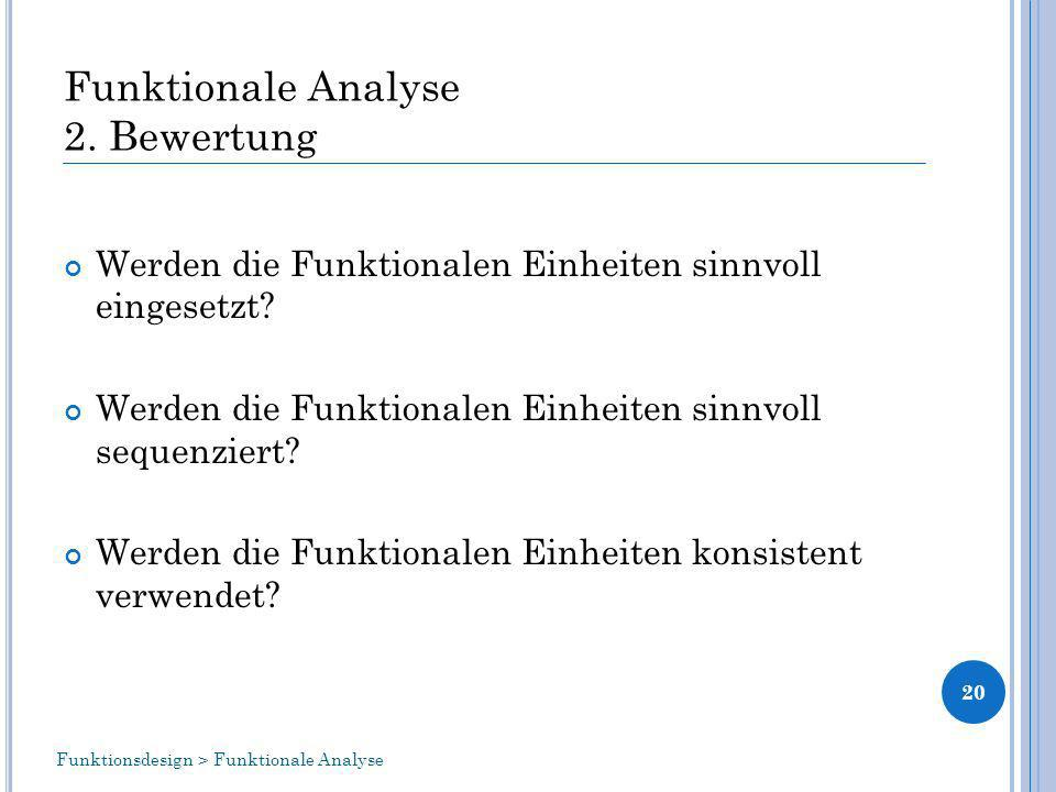 Funktionale Analyse 2. Bewertung