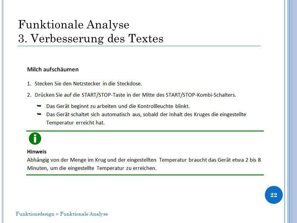 Funktionale Analyse 3. Verbesserung des Textes