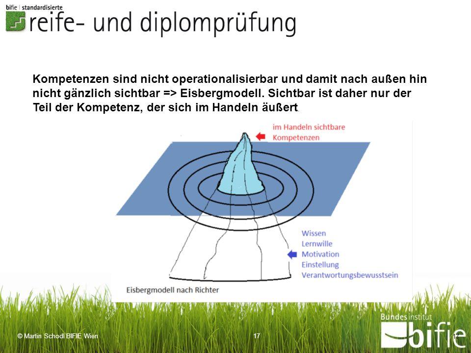 Kompetenzen sind nicht operationalisierbar und damit nach außen hin nicht gänzlich sichtbar => Eisbergmodell.