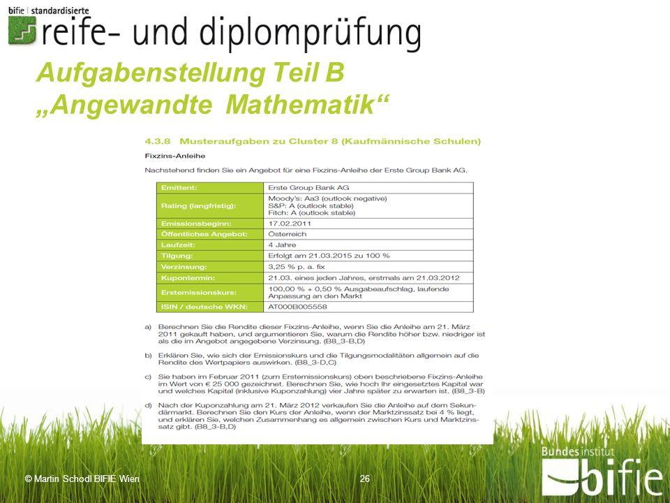 """Aufgabenstellung Teil B """"Angewandte Mathematik"""
