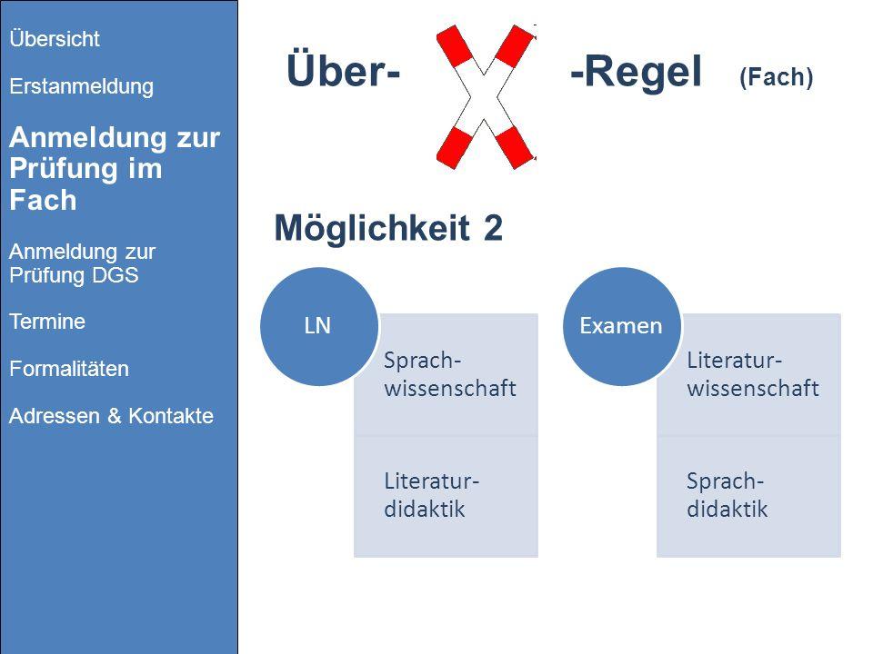 Über- -Regel (Fach) Möglichkeit 2 LN Examen Sprach-wissenschaft