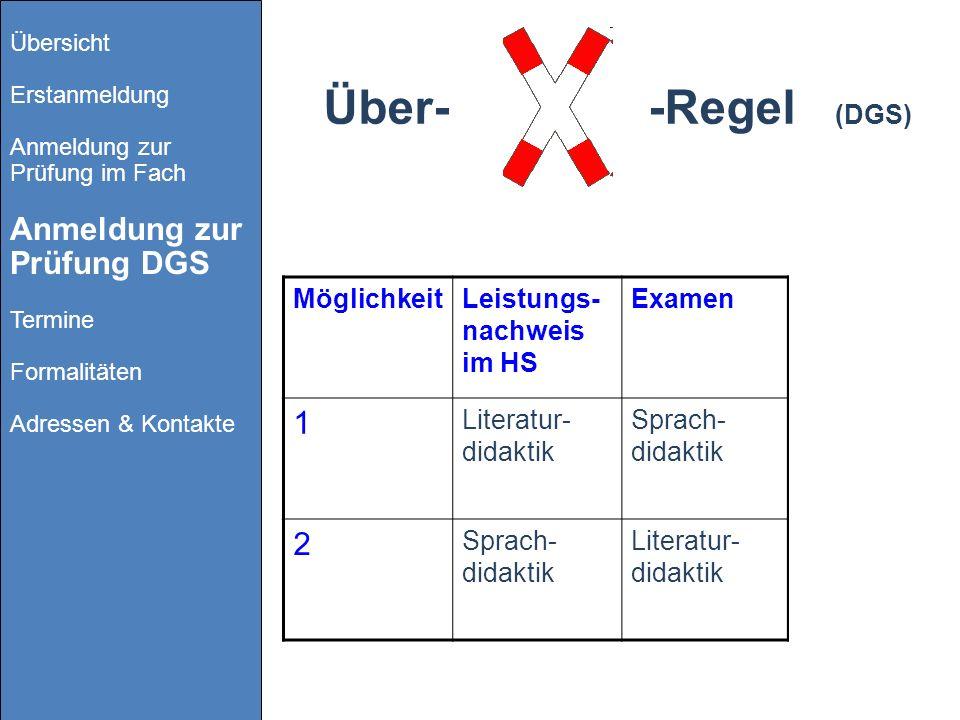 Über- -Regel (DGS) 1 2 Möglichkeit Leistungs-nachweis im HS Examen