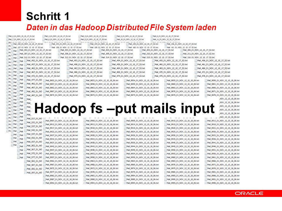 Schritt 1 Daten in das Hadoop Distributed File System laden