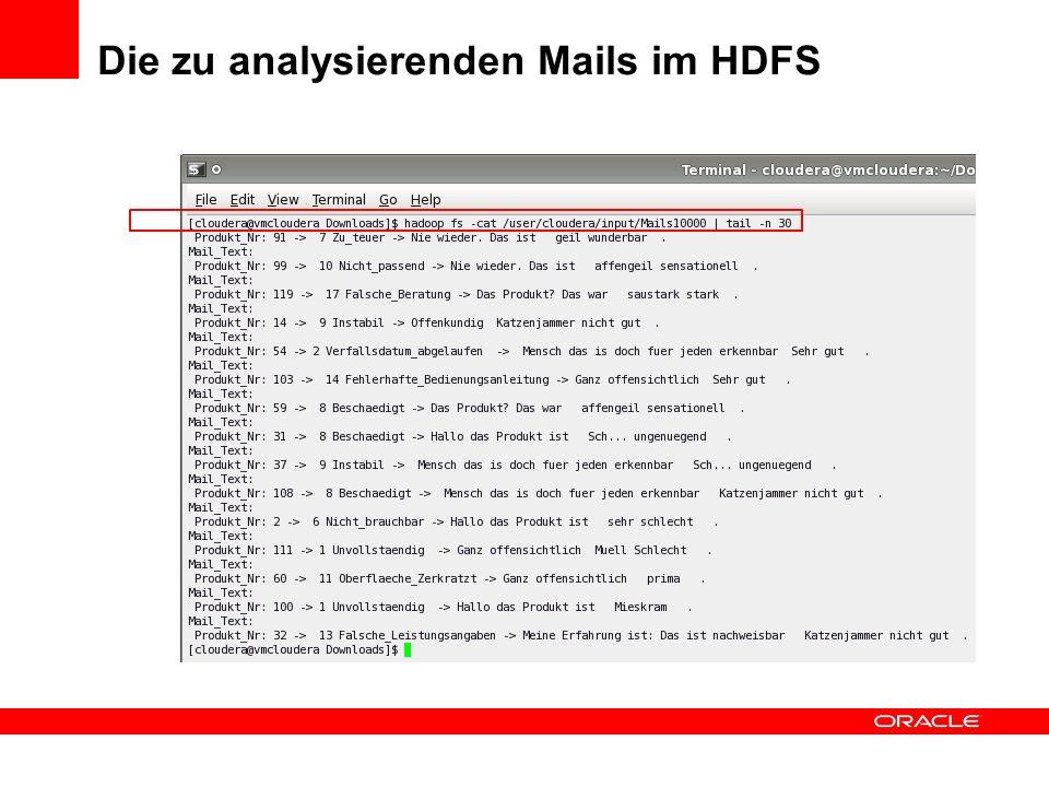Die zu analysierenden Mails im HDFS