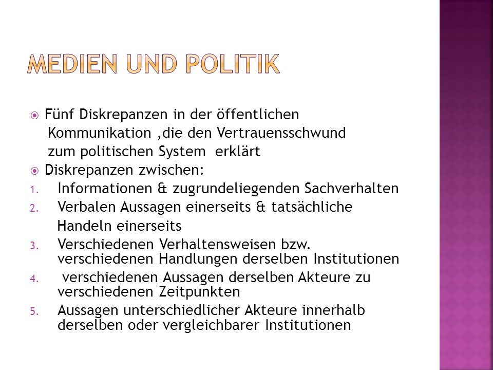 Medien und Politik Fünf Diskrepanzen in der öffentlichen