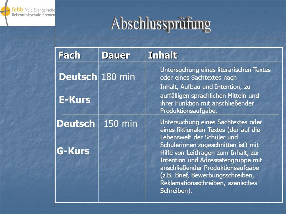 Abschlussprüfung Fach Dauer Inhalt Deutsch E-Kurs 180 min Deutsch