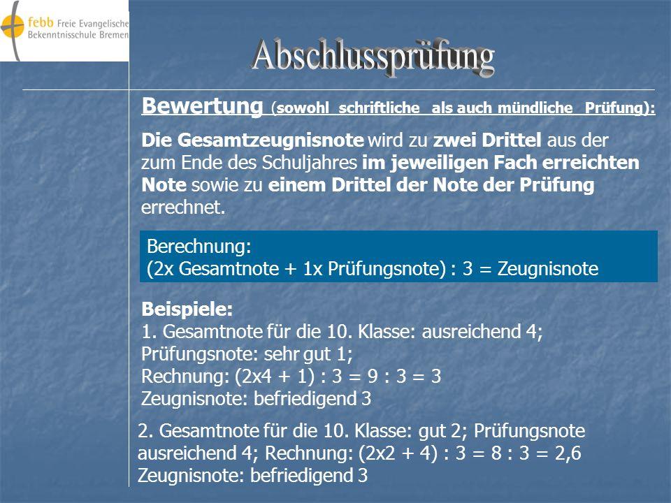 Abschlussprüfung Bewertung (sowohl schriftliche als auch mündliche Prüfung):
