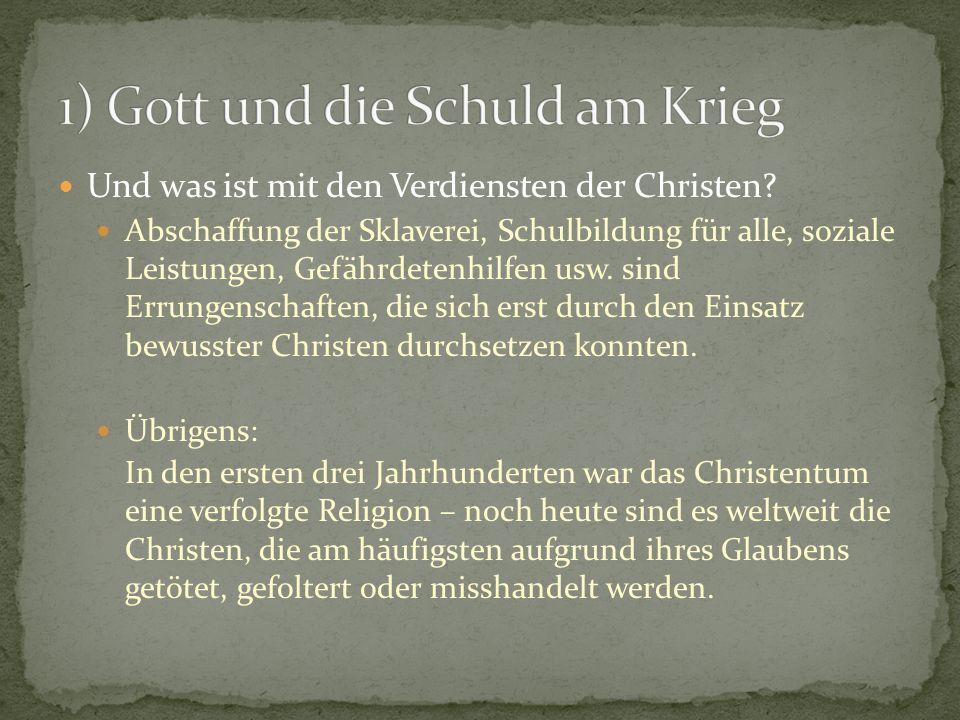 1) Gott und die Schuld am Krieg