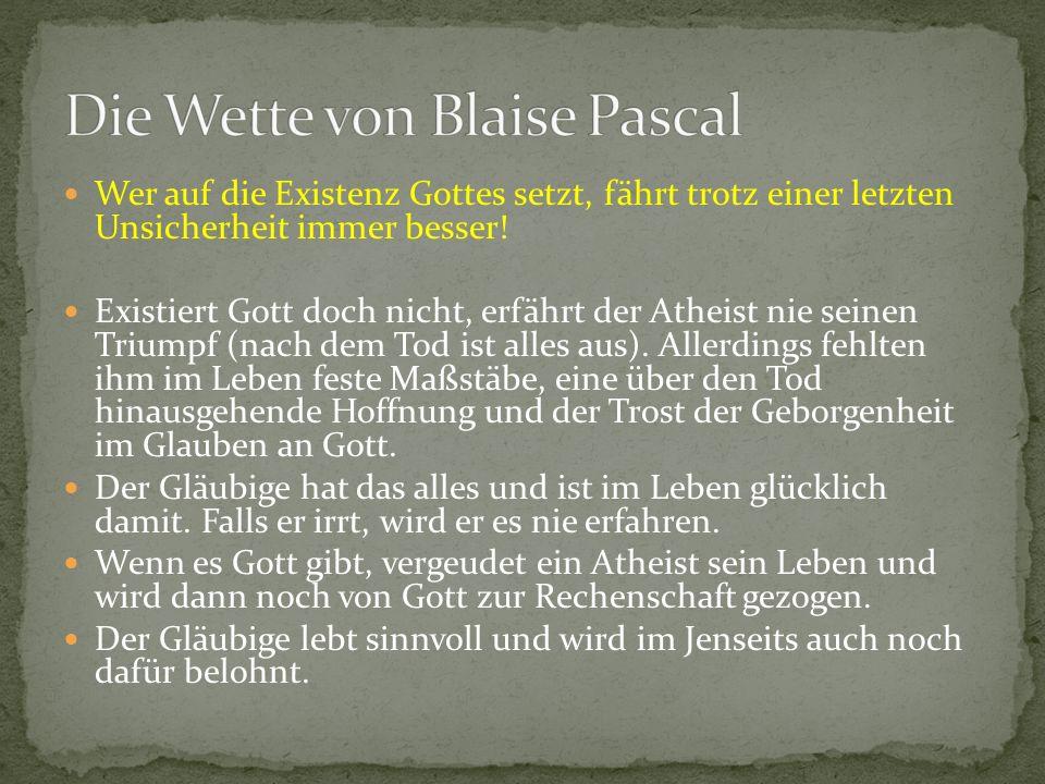 Die Wette von Blaise Pascal