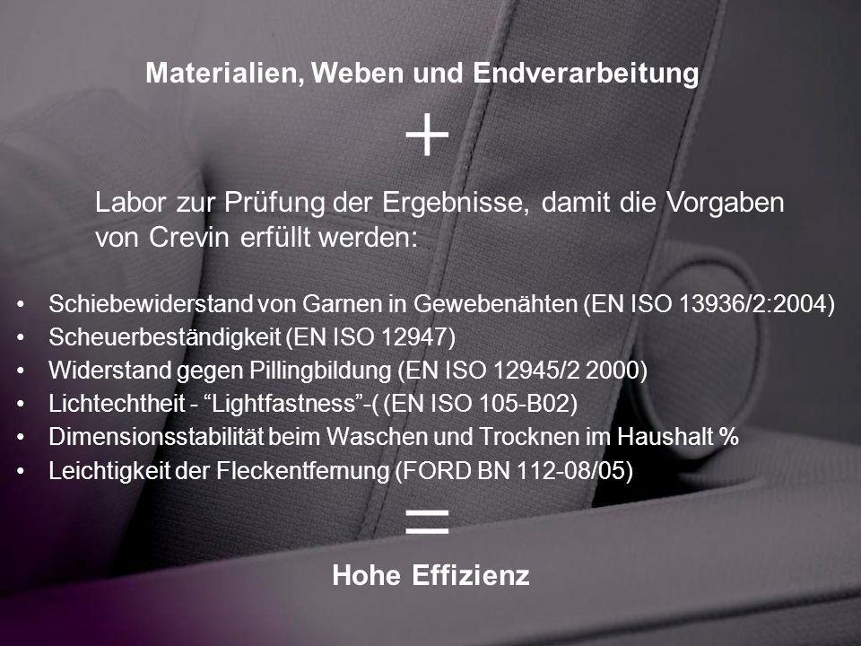 + = Materialien, Weben und Endverarbeitung