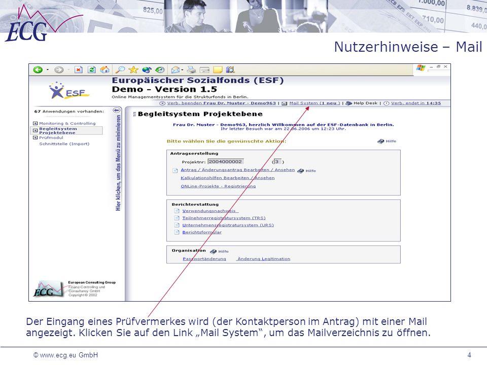 Nutzerhinweise – Mail Die entsprechenden Funktionen sind an das Login geknüpft und die festgelegten Prüfinstanzen können neue Prüfvermerke erstellen.