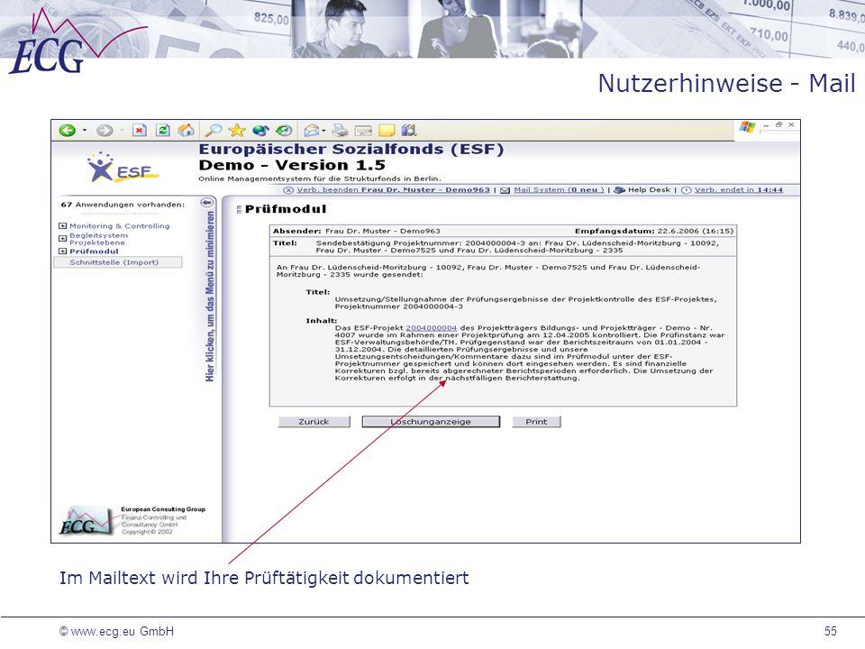 Nutzerhinweise - Mail Die entsprechenden Funktionen sind an das Login geknüpft und die festgelegten Prüfinstanzen können neue Prüfvermerke erstellen.