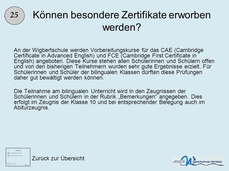 Können besondere Zertifikate erworben werden