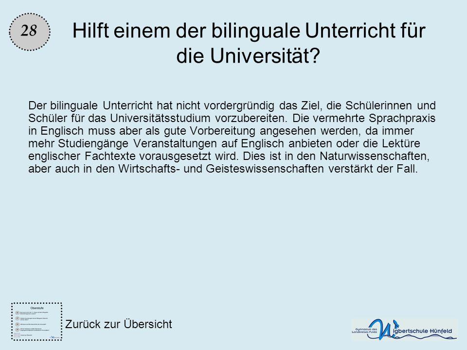 Hilft einem der bilinguale Unterricht für die Universität