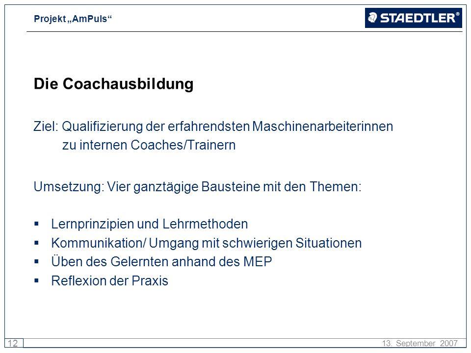 Die Coachausbildung Ziel: Qualifizierung der erfahrendsten Maschinenarbeiterinnen. zu internen Coaches/Trainern.