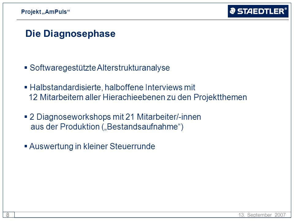 Die Diagnosephase Softwaregestützte Alterstrukturanalyse