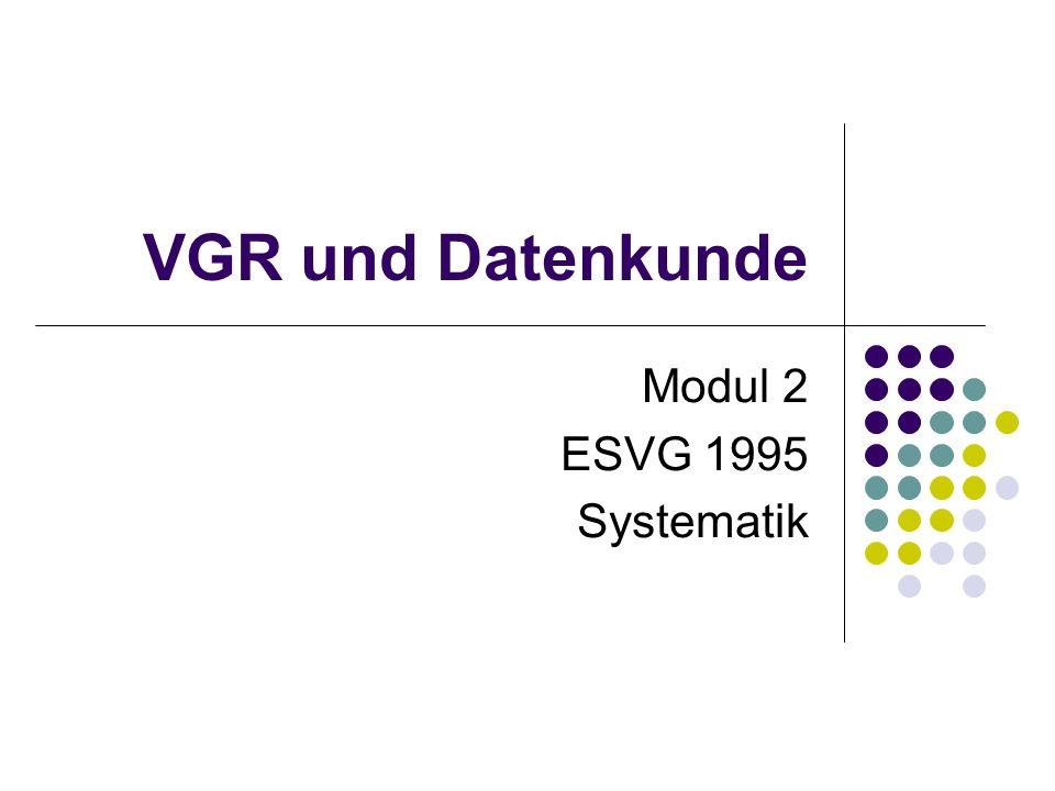VGR und Datenkunde Modul 2 ESVG 1995 Systematik