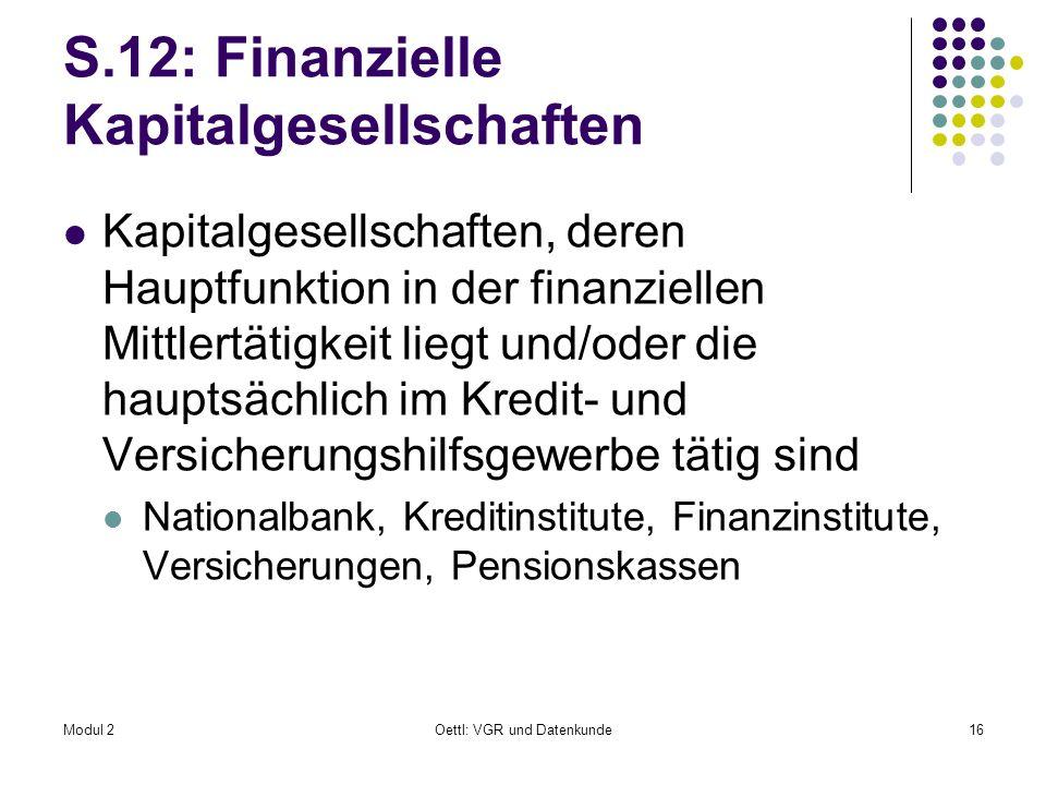 S.12: Finanzielle Kapitalgesellschaften
