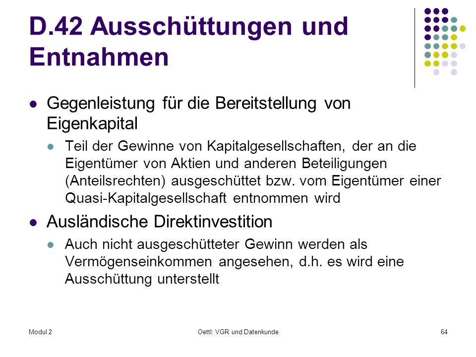 D.42 Ausschüttungen und Entnahmen