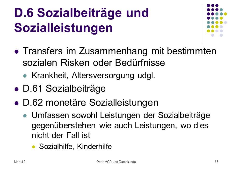D.6 Sozialbeiträge und Sozialleistungen