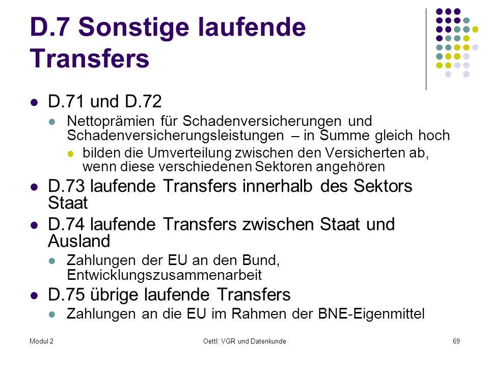 D.7 Sonstige laufende Transfers