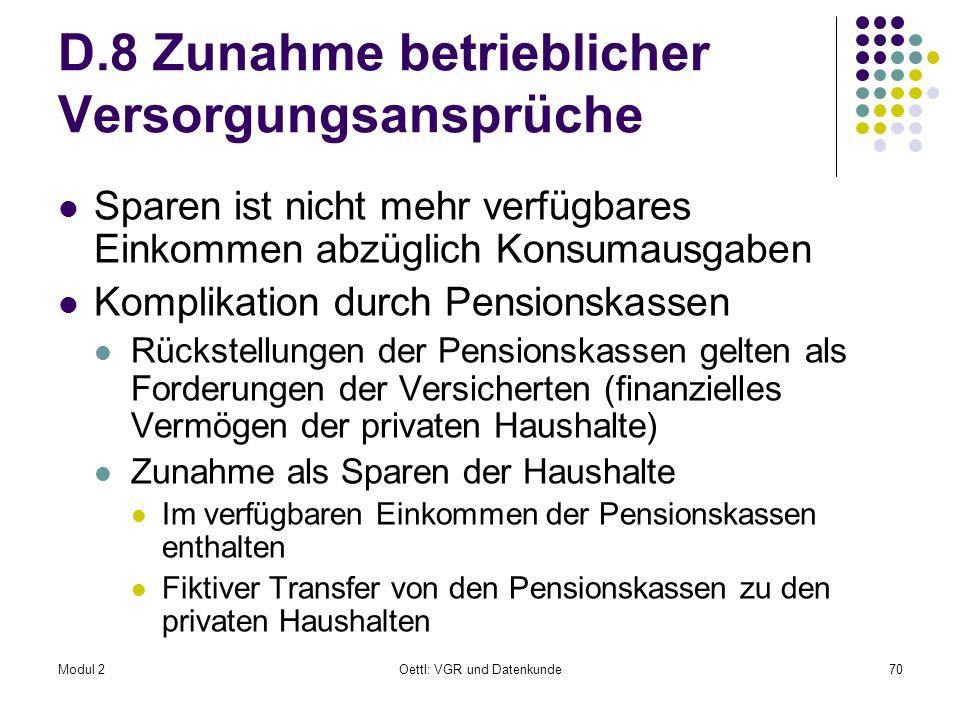 D.8 Zunahme betrieblicher Versorgungsansprüche