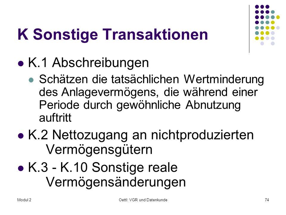 K Sonstige Transaktionen
