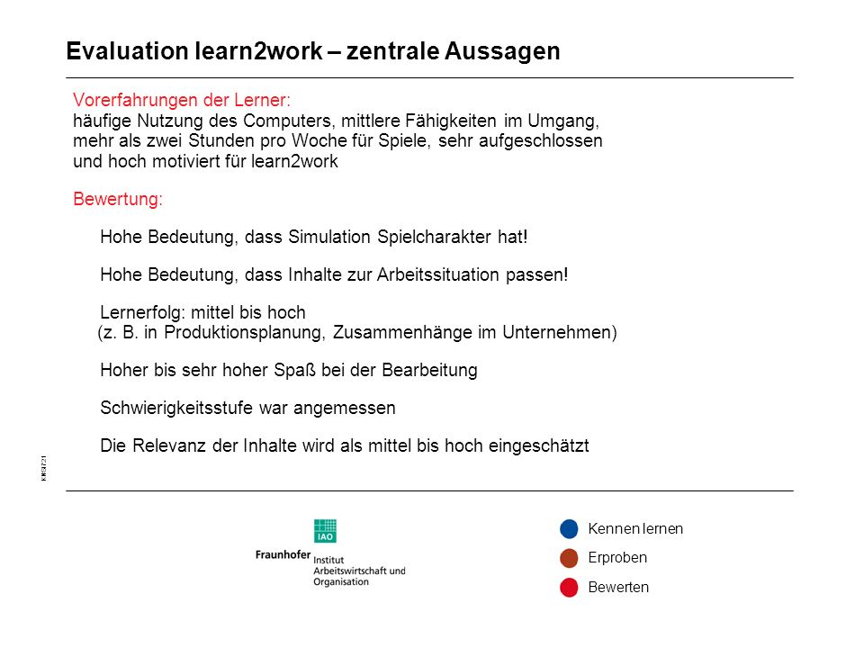 Evaluation learn2work – zentrale Aussagen