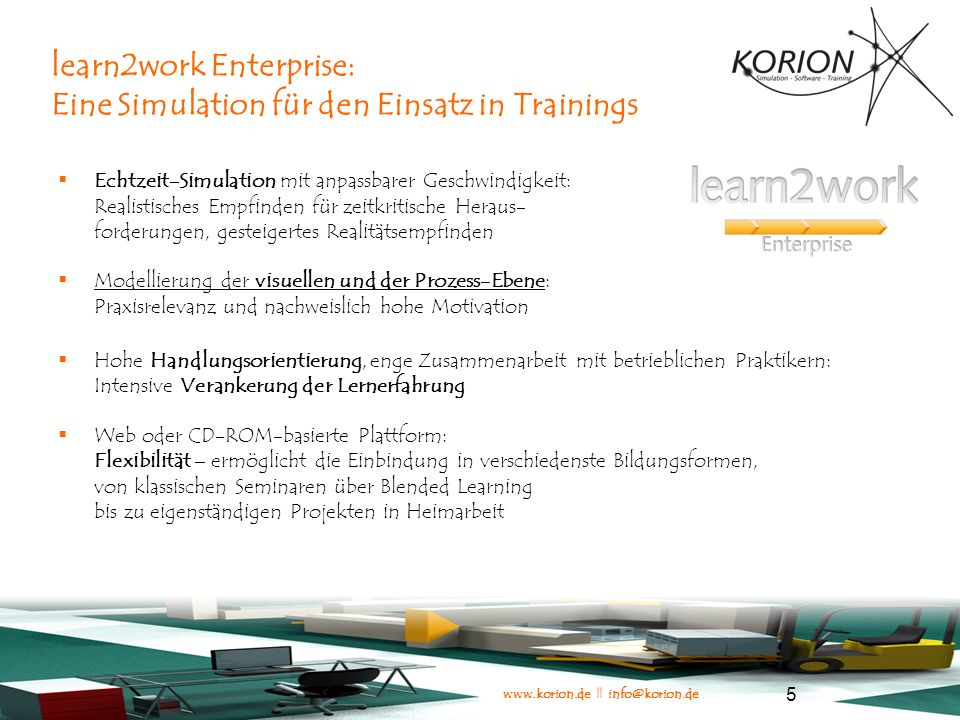learn2work Enterprise: Eine Simulation für den Einsatz in Trainings