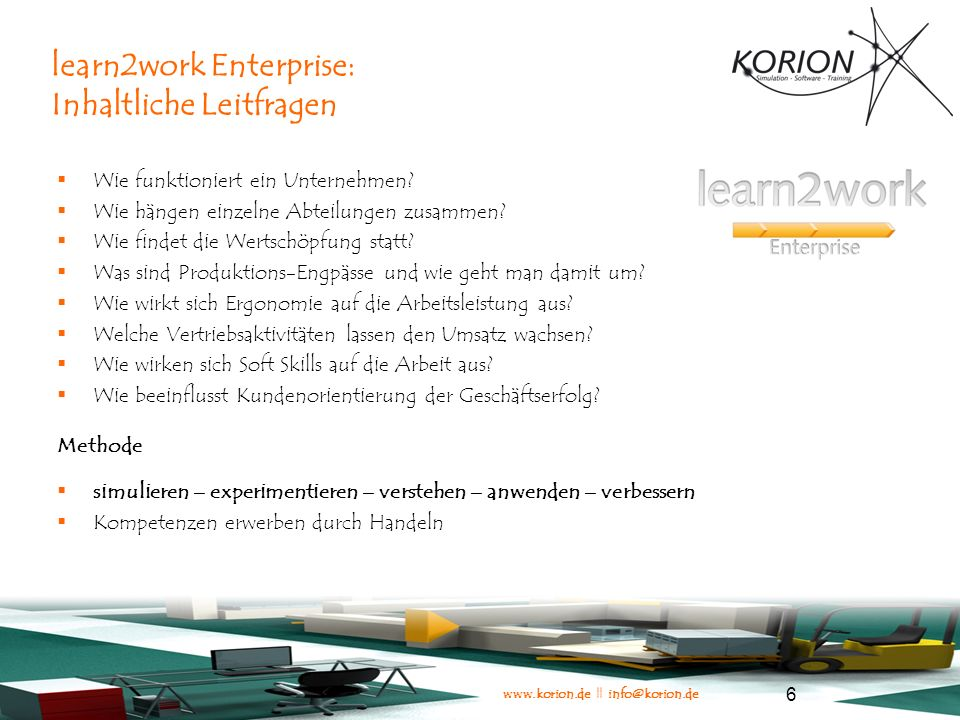 learn2work Enterprise: Inhaltliche Leitfragen