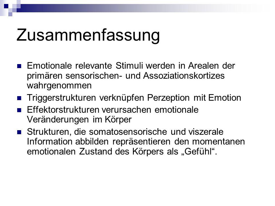Zusammenfassung Emotionale relevante Stimuli werden in Arealen der primären sensorischen- und Assoziationskortizes wahrgenommen.
