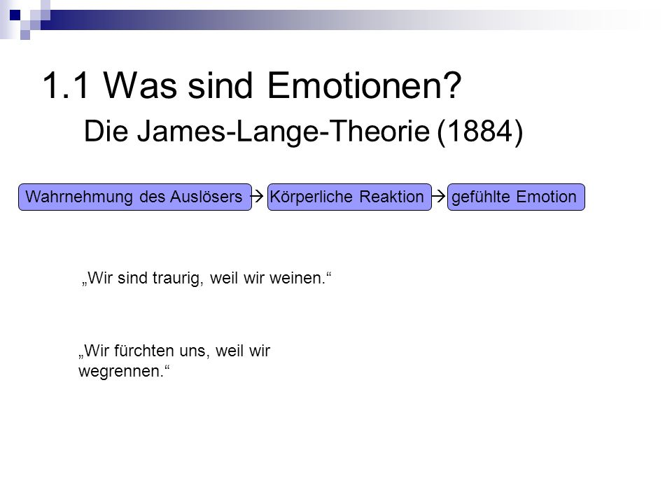 1.1 Was sind Emotionen Die James-Lange-Theorie (1884)