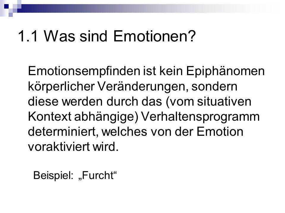 1.1 Was sind Emotionen