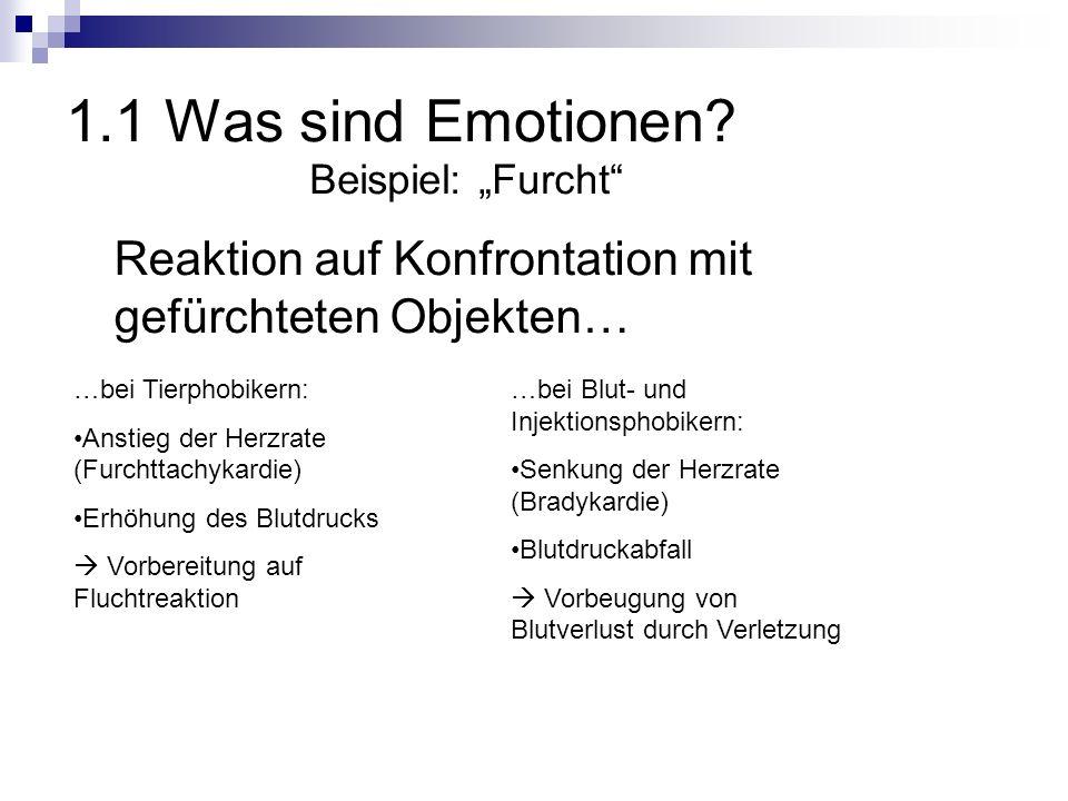 """1.1 Was sind Emotionen Beispiel: """"Furcht Reaktion auf Konfrontation mit gefürchteten Objekten… …bei Tierphobikern:"""